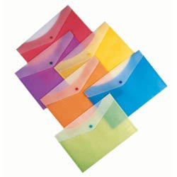 "Plastic Envelopes, 13-1/4"" x 9"" Snap Closure, Translucent"