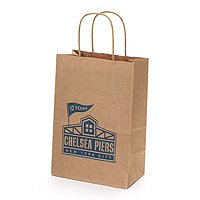 "100% Recycled Paper Shopping Bags, Natural Kraft, 5"" x 8"""