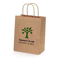 "100% Recycled Paper Shopping Bags, Natural Kraft, 8""  x 10-1/2"""
