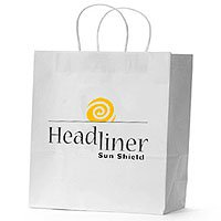 "Paper Shopping Bags, White Kraft 13"" x 17"""