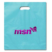 "Die Cut Plastic Bags, Foil Stamp, Frosted Brite 15"" x 18"", 4"" Gusset"