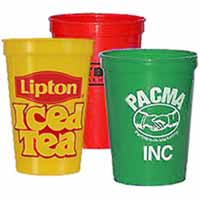 Plastic Stadium Cups, BPA Free, Colored, Smooth 17 oz.