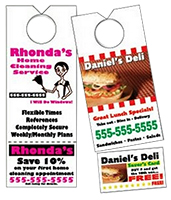 "3.125"" x 8.125"" Paper Door Hangers - Perforated Card - Full Color"