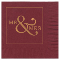 2-Ply Colored Wedding Luncheon Napkins, Foil Stamped