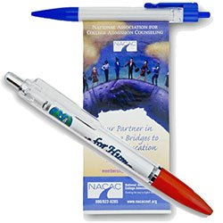 Retractable Banner Pens, Wide Clear Clip and Metal Plunger