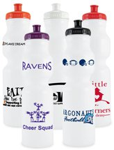 BPA Free Sport Water Bottles, Recyclable, 28 oz. White