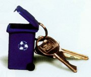 Recycled Key Chains, Mini-Recycling Cart