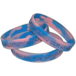 Multi-Color Swirl Awareness Bracelets, Debossed