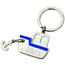 Boating Key Chains, Voyager Ship, Polished Nickel with Blue Accent