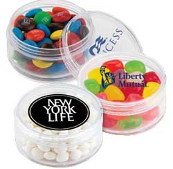Clear Round Plastic Tin with Candy Filling