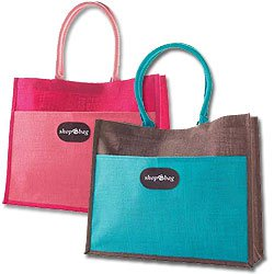 Natural Jute Fiber Shopping Bags, 17-1/2 x 14