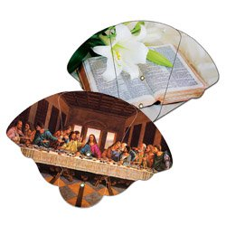Expandable Religious Fans, High Gloss Finish