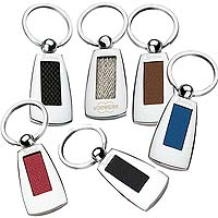 Bettoni Metal Key Chains with Leather Insert