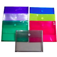 "Plastic Side Open Envelopes with Gusset, Velcro Closure 12"" x 9-5/8"""
