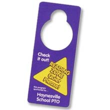 "3.25"" x 8"" Full Color Plastic Door Hangers, Punch Out Hole, .015"""