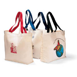 Canvas Tote Bags, Colored Handles, 15-1/2 x 11-1/2