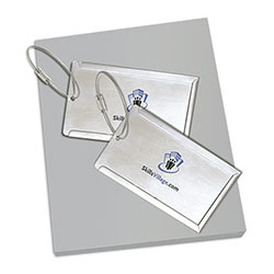 Stainless Steel Luggage Tags, with Cable Cord, Globe Trotter Gift Set