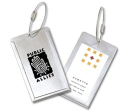 Stainless Steel Luggage Tags, with Cable Cord, Globe Trotter