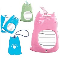 Metal Luggage Tags, Aluminum, Cat Shaped