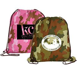 Non-Woven Camo Drawstring Backpacks, 15 x 16