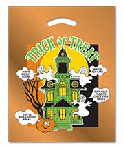 Orange Metallic Haunted House Die Cut Plastic Bag