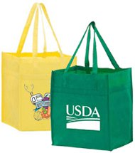 100 Custom 13 in. x 15 in. Non-Woven Reusable Shopping Bags