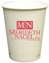 100 Custom 8 oz. Compostable Paper Hot Cups (Screen Printed)