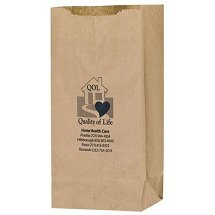 "6"" x 12.5"" Natural Kraft Grocery Bags, 4"" Gusset"