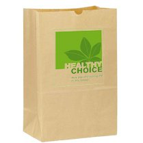 "7"" x 13"" Natural Kraft Grocery Bags, 4.5"" Gusset"