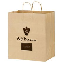 "14-1/2"" x 16-1/4"" Natural Kraft Paper Carry Out Bags, 9"" Gusset"