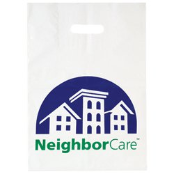 "12"" x 16"" x 4"" Die Cut Plastic Bags with Patch Handle"