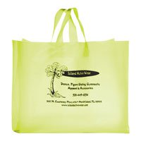 "13"" x 4"" x 10"" Colored Frosted Soft Loop Shopping Bags, Ink Imprint"
