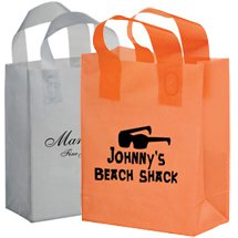 "8"" x 4"" x 11"" Colored Frosted Soft Loop Shopping Bags, Ink Imprint"