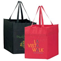 "13"" x 14"" Heavy Duty Non-Woven Reusable Shopping Bags"
