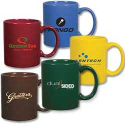 Ceramic Coffee Cups, C Handle Mugs, 11 oz.