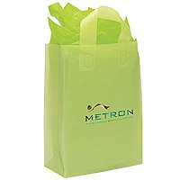 Plastic Shopping Bags, Soft Loop Handle, Foil Stamped, Frosted Brite 10 x 13