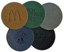 Bonded Leatherette Coasters, Round