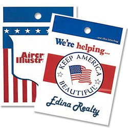Die Cut Plastic Litter Bags, Patriotic Theme, No Gusset