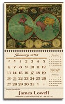 Art Calendars, Foil Etch Antique Map - 12 Month