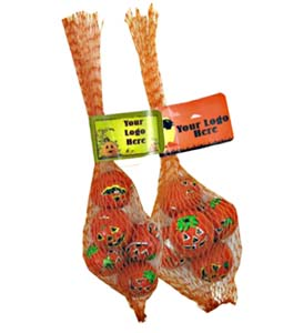 Halloween Chocolates in Mesh Bags, Chocolate Crispy Pumpkin Balls