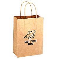 100% Recycled Wine Paper Bags, Twisted Paper Handle, Natural Kraft 8 x 13-5/8