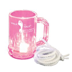 Breast Cancer Awareness, Hanging Lighted Mini Mugs, LED & White Rope, 1.25 oz.