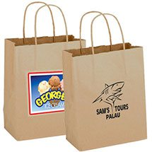 "100% Recycled Paper Shopping Bags, Natural Kraft, 8""  x 10-1/4"""