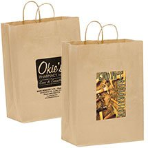 "100% Recycled Paper Shopping Bags, Natural Kraft 13"" x 17"""