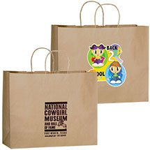 "100% Recycled Paper Shopping Bags, Natural Kraft, 16"" x 12"""