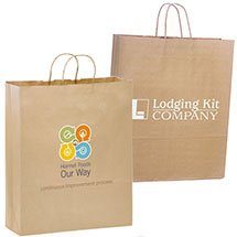 "100% Recycled Paper Shopping Bags, Natural Kraft, 16"" x 19"""