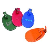 Colored with Cream Saddle Stitching Leather Luggage Tags