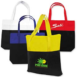Reusable Shopping Bags, Non-Woven Poly, 2-Tone Totes, Large 18-1/2 x 16-1/4