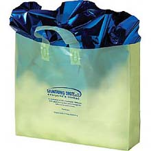 Plastic Shopping Bags, Soft Loop Handle, Foil Stamped, Colored Frosted 13 x 10