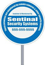 Round Security Yard Signs with Optional Stakes